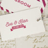 Front and Reverse Close Up of Groom 'All You Need' Wedding Place Name Tags