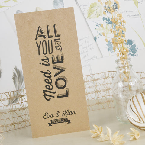 'All You Need' Kraft Tri-Fold Wedding Invitation