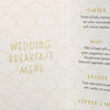 'Art Deco' Wedding Breakfast Menu-Close Up of Inside