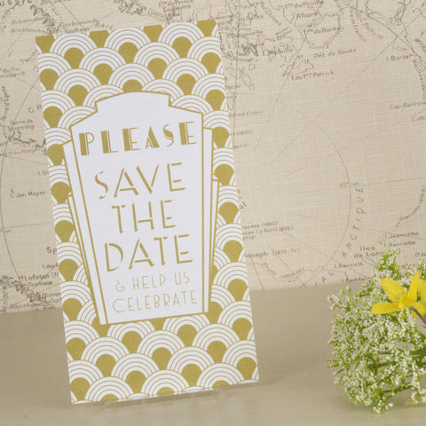 'Art Deco' Wedding Save The Date Card-Front