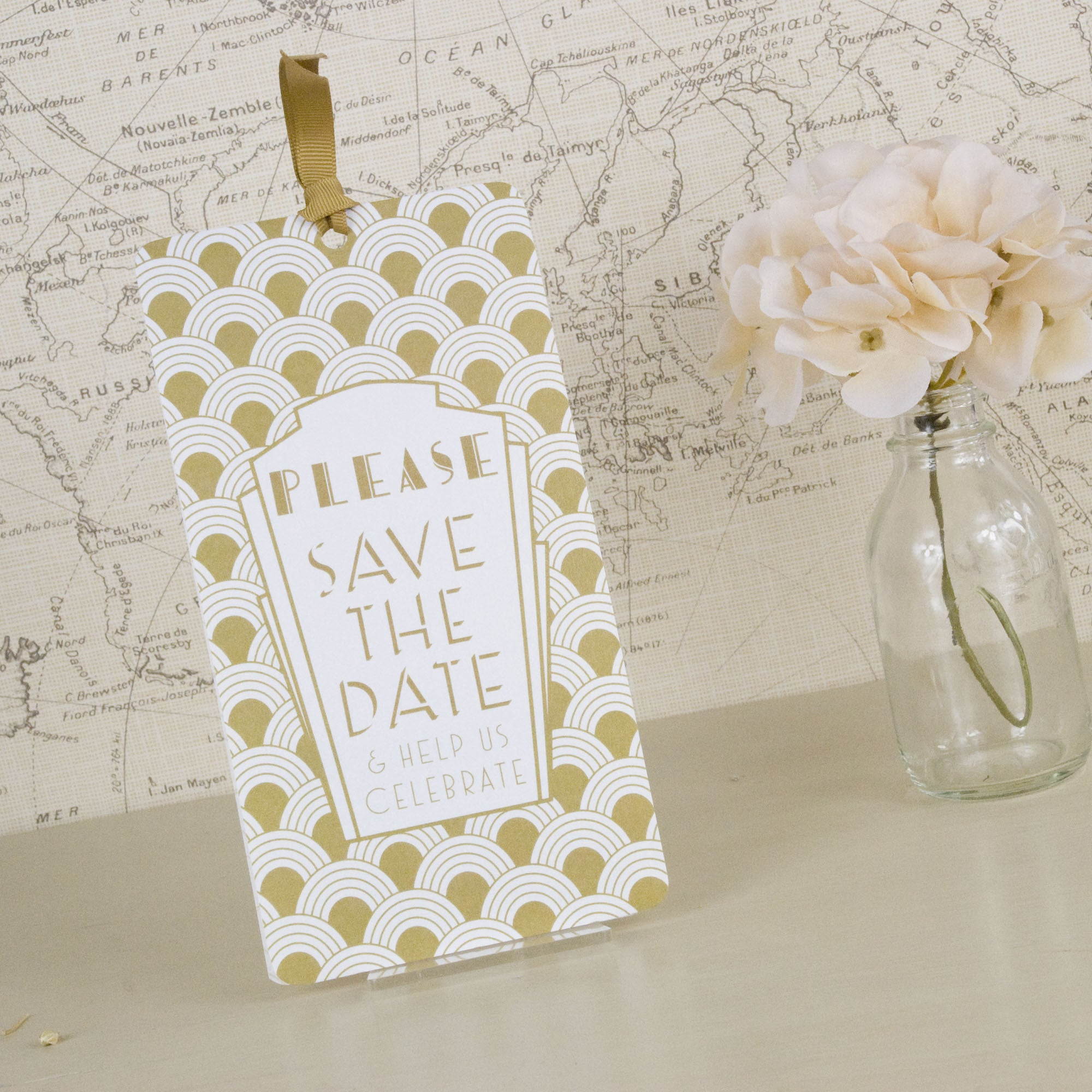 Art Deco Save The Date Tags – Love Wedding Print