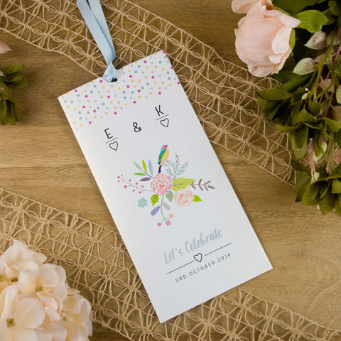 Exotic Bird Wallet Wedding Invitation