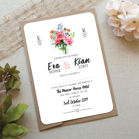 Floral Bouquet Wedding Invitation