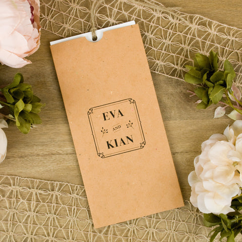 'Floral Press' Wallet Wedding Invitation on Earthy Tan Textured Board
