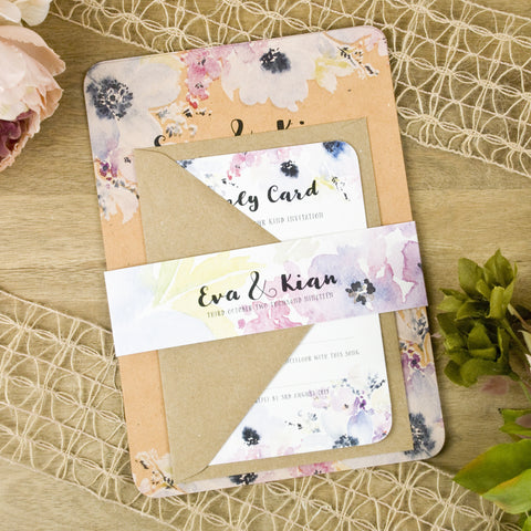 'Floral Watercolour' Wedding Invitation on Earthy Tan Textured Board