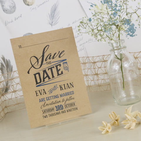 'Guess Who' Kraft Wedding Save The Date Postcard