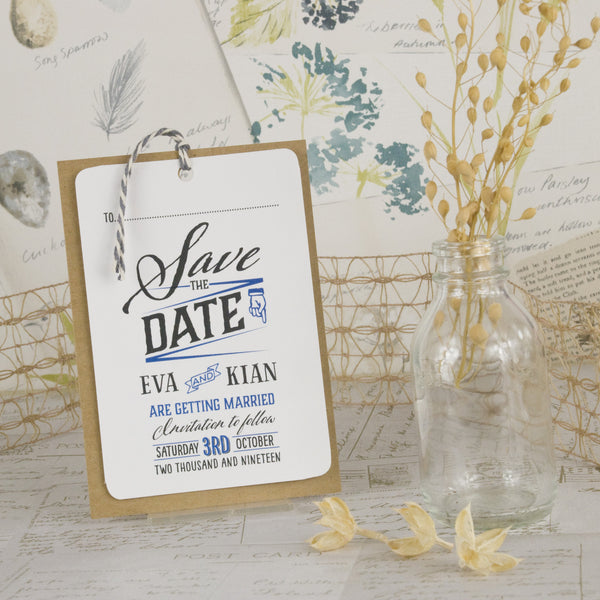 Guess Who wedding save the date card