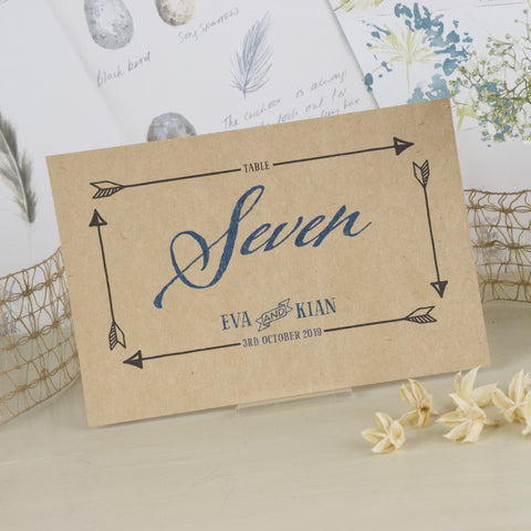 'Guess Who' Kraft Wedding Table Name Cards