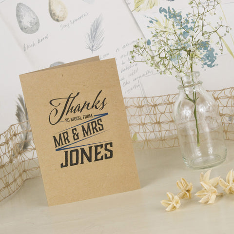'Guess Who' Kraft Wedding Thank You Cards