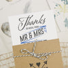 Close Up of 'Guess Who' Thank You Wedding Wallet with Twine