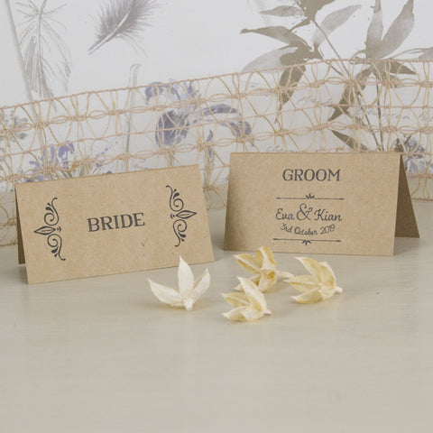 'Happily Yours' Kraft Wedding Place Name Cards