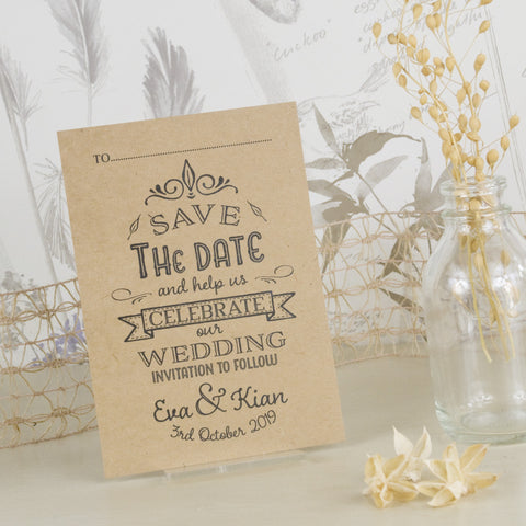 'Happily Yours' Kraft Wedding Save The Date Postcard