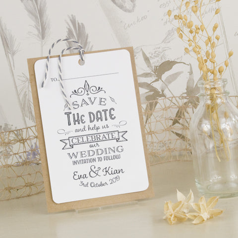 'Happily Yours' Wedding Save The Date Tags