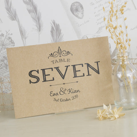 'Happily Yours' Kraft Wedding Table Name Cards