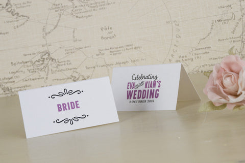 'Laugh Drink Smile' Wedding Place Name Cards