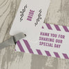 'Laugh Drink Smile' Wedding Place Name Tags Showing Second Tag Wording