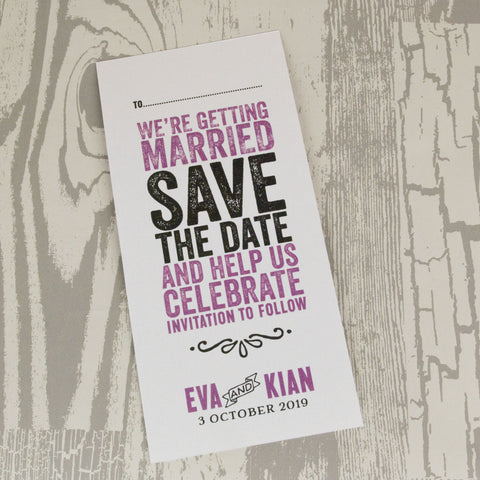 'Laugh Drink Smile' Wedding Save The Date Card