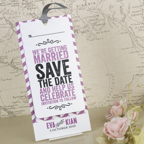 'Laugh Drink Smile' Wedding Save The Date Tags