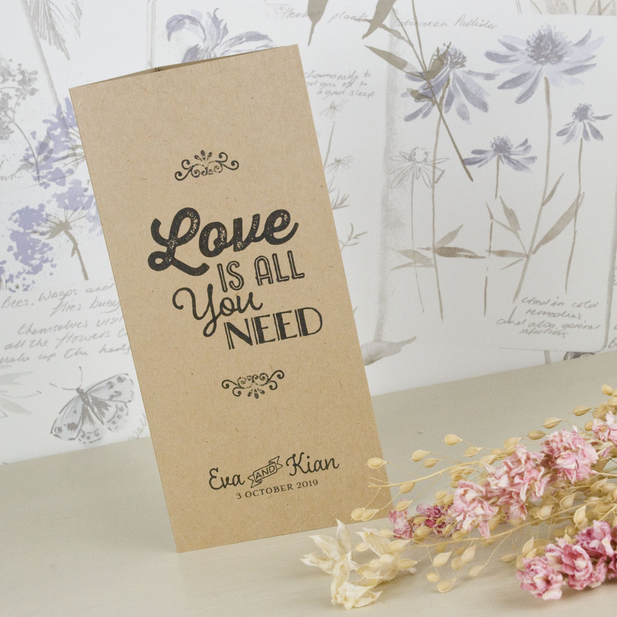 Love Is All You Need Kraft Tri-Fold Wedding Invitation – Love ...