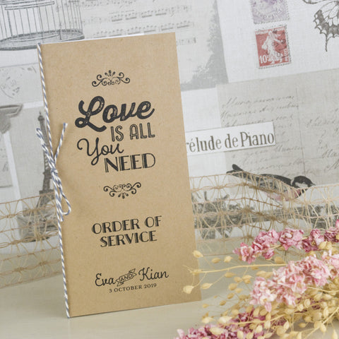'Love Is All You Need' Kraft Wedding Order of Service