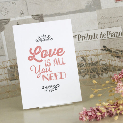 'Love Is All You Need' Wedding Save The Date Postcard