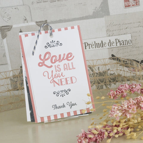 'Love Is All You Need' Wedding Thank You Card Tags