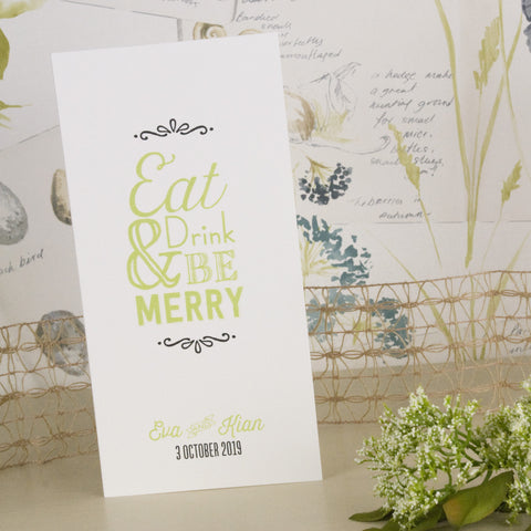 'Love Laughter' Wedding Menu