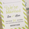 'Love Laughter' Ivory Wedding Save The Date Postcard-Close Up of Reverse Side