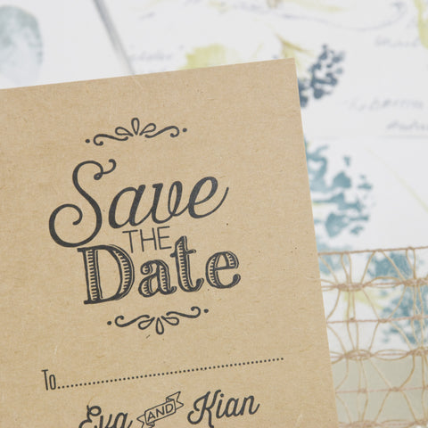 'Love Laughter' Kraft Wedding Save The Date Postcard