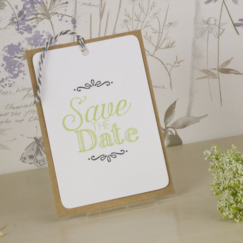 'Love Laughter' Wedding Save The Date Tags with Twine