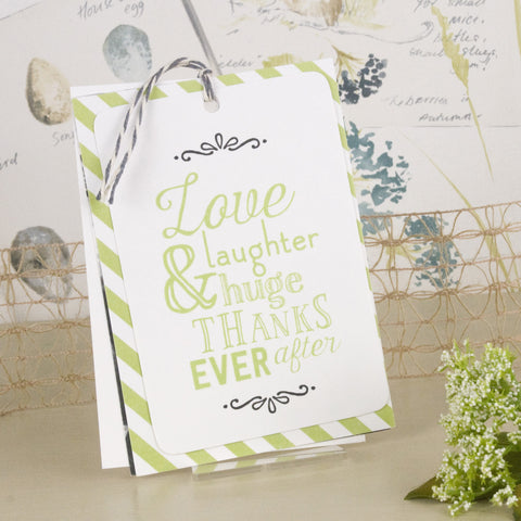 'Love Laughter' Wedding Thank You Card Tags