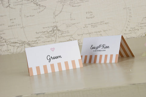 'Love Love Love' Wedding Place Name Cards