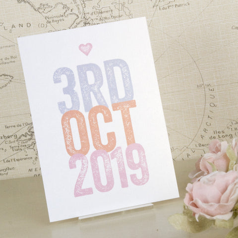 'Love Love Love' Wedding Save The Date Postcard