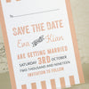 'Love Love Love' Wedding Save The Date Postcard Reverse Side, Close Up