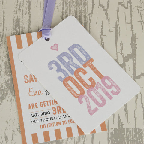 'Love Love Love' Wedding Save The Date Tags