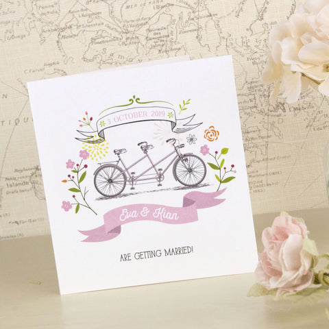 'Love The Bicycle' Tri-Fold Wedding Invitation