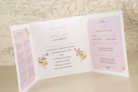 Love The Bicycle Tri Fold Wedding Invitation Love Wedding Print