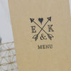 'Lucky Arrows' Wedding Menu, Close Up of Front Cover
