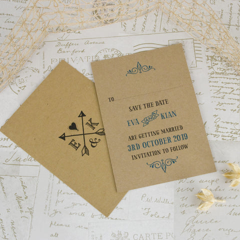 'Lucky Arrows' Kraft Wedding Save The Date Card