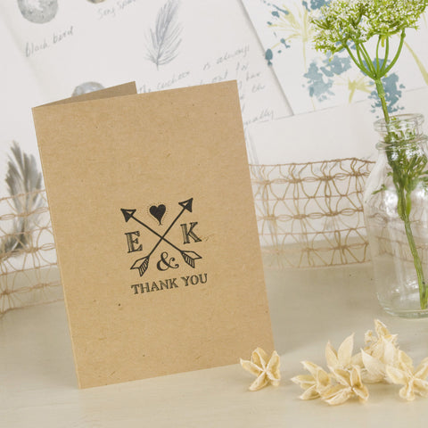 'Lucky Arrows' Kraft Wedding Thank You Cards