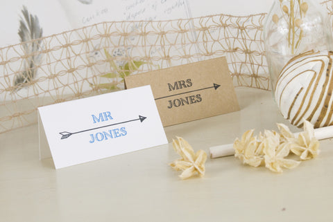 'Lucky Arrows' Wedding Place Name Cards on Kraft and Ivory