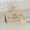 'Lucky Arrows' Wedding Place Name Cards on Kraft-Reverse Side