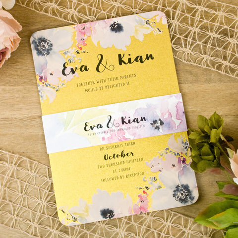'Metallic Floral Watercolour' Wedding Invitation on Gold Shimmer Card