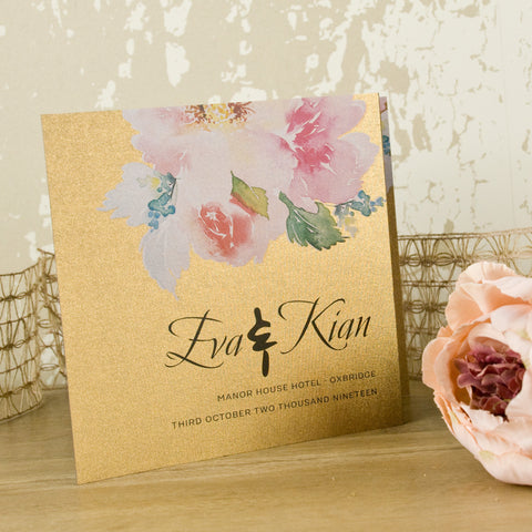 'Metallic Watercolour Bouquet' Wedding Invitation on Bronze Beauty Card