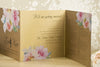 'Metallic Watercolour Bouquet' Wedding Invitation on Bronze Beauty Card, Showing Close Up Wedding Information
