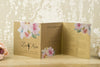 'Metallic Watercolour Bouquet' Wedding Invitation on Bronze Beauty Card, Showing Wedding Information