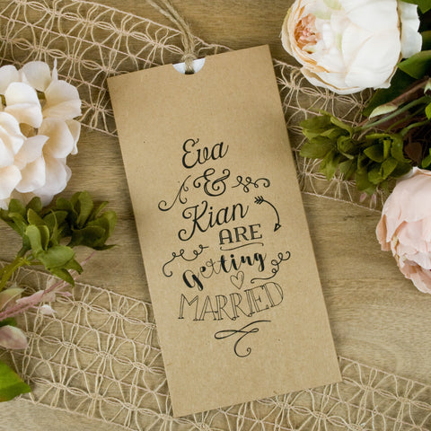 'Monotype' Wallet Wedding Invitation on Kraft Manilla Card