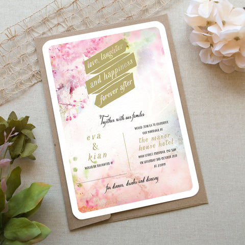 Pastel Painting Wedding Invitation