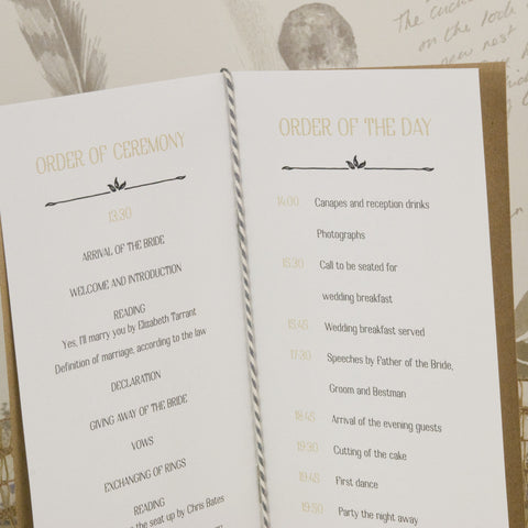 Sketch Order of Service – Love Wedding Print