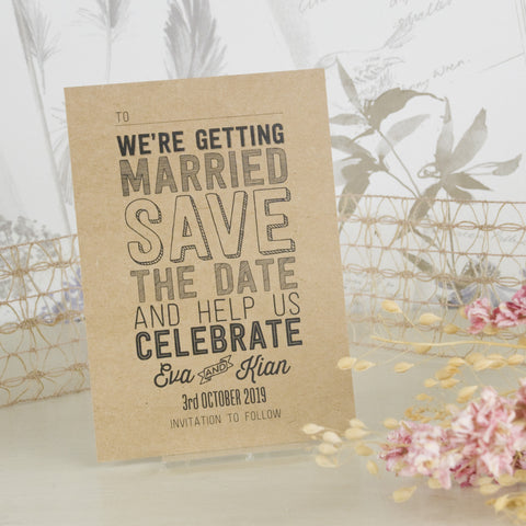 'Sketch' Kraft Wedding Save The Date Postcard